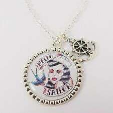 SAILOR TATTOO GIRL CHARM NECKLACE vintage rockabilly nautical swallow anchor