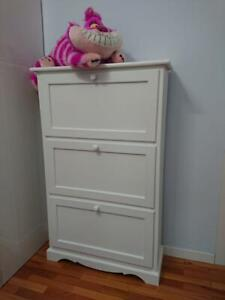 Shoe Cabinet With 3 Doors, Door To Turn, Port Shoes, White cm79x30x130H
