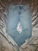 Calvin Klein Womens Ripped Knee Light Blue Wash Slim Boyfriend Jeans Size 27...