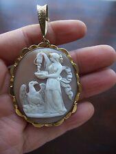 Antiguo Colgante Camafeo soltamos Victoriano diosa Bonafini & Cadena