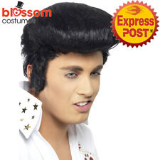 Adults Mens Elvis Deluxe Wig Smiffys Halloween Fancy Dress Accessory - Black