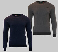 Superdry Mens New Orange Label Crew Neck Cotton Jumper Long Sleeve Grey Navy
