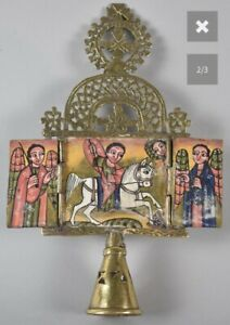 20th Century Coptic Pierced Brass Triptych Staff Icon Hand Painted Orthodox