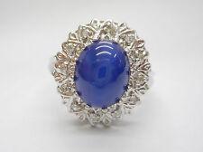 SALE 10k White Gold Lab Created Blue Star Sapphire & Diamond Ring ~ Sz 8 ~ #2284