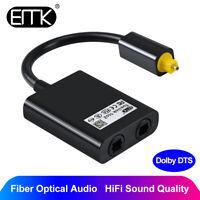 EMK Dual Port Toslink Digital Optic Adapter Splitter Fiber Audio Cable 1in 2out