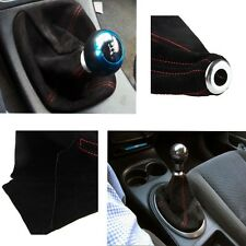 Red Stitch Black Suede Manual/Automatic MT/AT Car Shifter Shift Gear Boot Cover