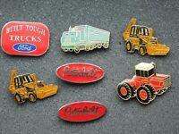 VINTAGE 7 METAL PINS  TRUCKS TRACTOR BUCKET LOADERS PETERBILT FORD
