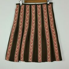 Ann Taylor Womens Size 2 Brown Floral 100% Silk A-Line Knee Length Skirt Pleated