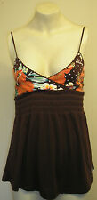Billabong cute strappy elasticated brown flowery summer top size 10 Free P & P