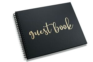 """New Wedding Funeral Guest Book Black Polaroid Spiral Album 80 Blank Pages 10x8"""""""