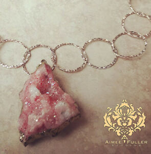 Pink Druzy Agate Pendant Snow Crystal Necklace Italian Bronze Gold Brushed Chain