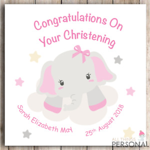Personalised Congratulations On Your Christening Card Baby Girl Cute Goddaughter