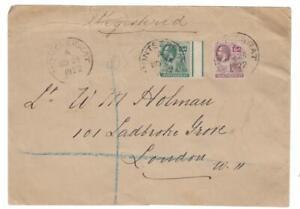 Montserrat: 1922 R-cover to London
