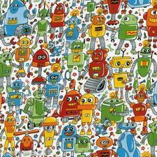 Nutex RAINBOW ROBOTS Kids Novelty Galactic Robot Themed Fabric