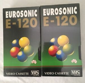 2 VHS Blank Eurosonic 120 Video Tapes Australian PAL / SECAM NEW Factory Sealed
