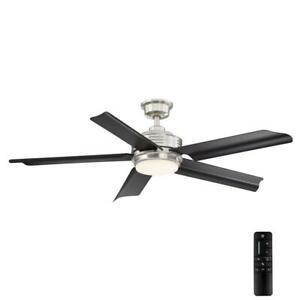Home Decorators C. Hansfield 56 in. LED Outdoor B.Nickel Ceiling Fan w/Remote C.