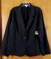 EILEEN FISHER Size 1X Black Organic Linen Button Down Blazer Jacket