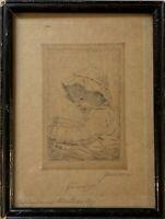 Kinder Portrait Kleines Mädchen mit Puppe signiert Radierung 25 x 19 cm