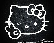 """Hello Kitty Peace Sign Winking Bow Car Wall Vinyl Window Decal Decals Sticker 5"""""""