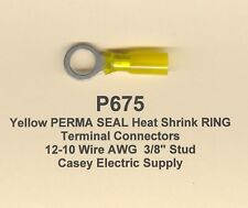 """20 Yellow PERMA SEAL Heat Shrink RING Terminal Connectors #12-10 Wire 3/8"""" MOLEX"""