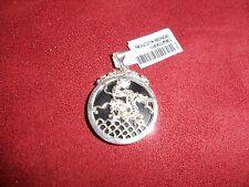 35.00ctw Black Jade Dragon Pendant, Silver Metal