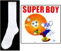 Boys Nylon White Dress Socks - Sizes: S-M-L  1 Pair or 12 Pairs Lot  (00020W ^)