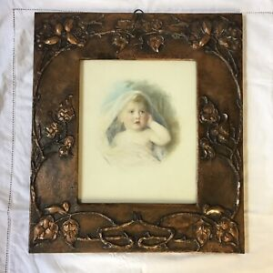 Florence Hannam Pinxs Watercolour Portrait In Art & Crafts Hammered Copper Frame