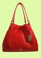 COACH 35340 EDIE Watermelon Python Embossed Leather Shoulder Bag Msrp $650.00