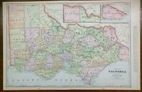 "Vintage 1903 VICTORIA AUSTRALIA Atlas Map 22""x14"" Old Antique Original MELBOURNE"