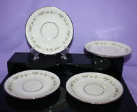 "Set of 4 Vintage Lenox Brookdale 5-5/8"" Saucers for Teacups Platinum Trim - EUC"