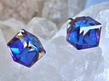 Crystal Bermuda Blue Stud Earrings 10mm Slant Cube Swarovski Rhinestones, 1 pair