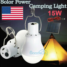 2X 15W Solar Powered LED Rechargeable Bulb Light Outdoor Camping Yard Lamp US