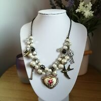 Statement Steampunk White Black Faux Pearl Beaded Heart Mixed Pendants Necklace