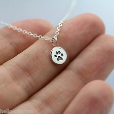 TINY PAW PRINT NECKLACE - 925 Sterling Silver Paw Charm *NEW* Dog Cat Animal Paw