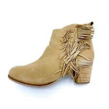 Matisse Womens Cloey Ankle Boots Booties Beige Suede Block Heel Zip Fringe 8.5