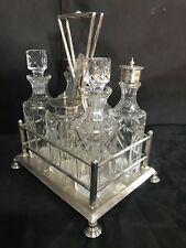 Edwardian silver plated 6 piece condiment set.