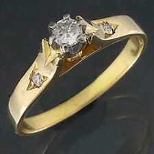 Robust Solid 18k Yellow & White GOLD DIAMOND SOLITAIRE 2 Shoulder Gem RING Sz L