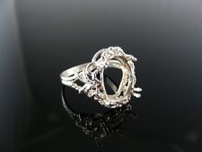 3187 RING SETTING STERLING SILVER, SIZE 8, 14X12 MM OVAL STONE