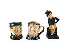 3pc Royal Doulton Mr Pickwick Fat Boy Mini Toby Jugs Mugs Alfred Jingle Figurine