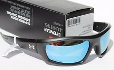 UNDER ARMOUR Power POLARIZED Sunglasses Satin Black/Blue Multi NEW Sport $140