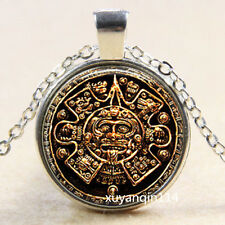 Ancient Egyptian Style Photo Cabochon Glass Tibet Silver Chain Pendant Necklace