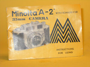 Original(!) Minolta Instruction Manual for Minolta A-2 35mm Camera - in English!