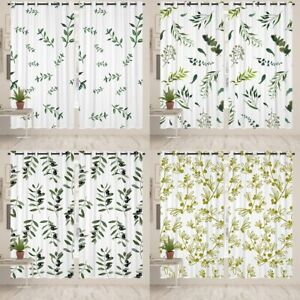 Green Leaves Print Blackout Window Curtains Eyelet Thermal Ring Top Curtains CN