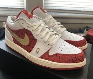 Nike Air Jordan 1 Low SE Spades White Metallic Gold DJ5185-100 Mens Size 12 New