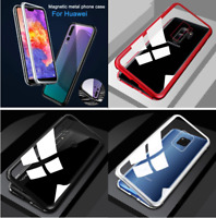 For Huawei Mate 20 Pro Lite Magnetic Metal Bumper Tempered Glass Flip Case Cover