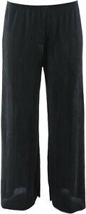 Joan Rivers Solid Accordion Pleat Palazzo Pants Black L NEW A351500