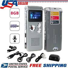 Digital Sound Phone Recorder Dictaphone 8GB Voice Activated Mini Audio Mp3Player