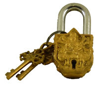 Goddess Durga Engraved Antique Vintage Style Lock Handmade Brass Padlock & Keys