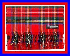 2 PLY 100% Cashmere Scarf Red Green Check Plaid Scottish Tartan Soft Wool Z316