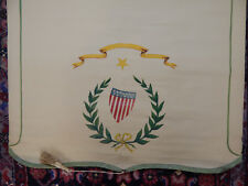 3 WINDOW ROLLER SHADES ANTIQUE HAND PAINTED PATRIOTIC STARS & STRIPES RARE 1910